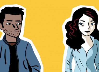Homme et femme dessinés. Couple se regardant dans les yeux sur fond jaune.