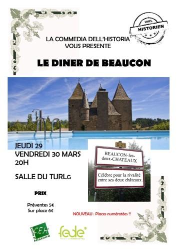 Affiche du spectacle Le Diner Beaucon par le cercle Histoire de l'Université de Liège