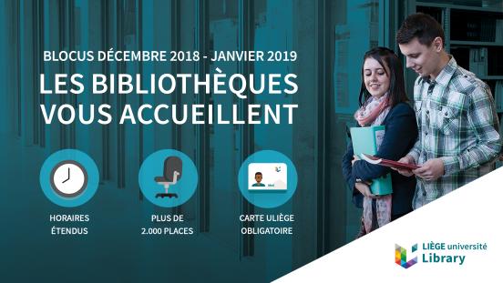 Affiche officielle de l'ULiège concernant les bibliothèques ouvertes lors du Blocus
