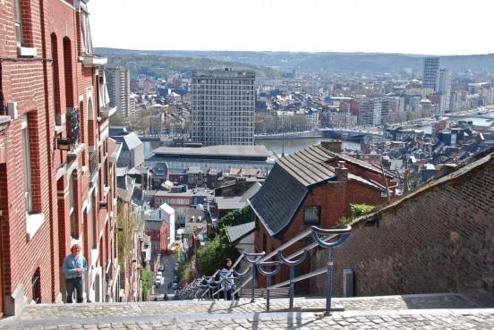 Il s'agit d'une photo prise en haut des escaliers de Bueren à Liège et qui donne un panorama sur une partie de la ville de Liège.