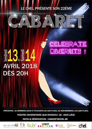 Affiche du spectacle Cabaret 2018 organisé par le Chel